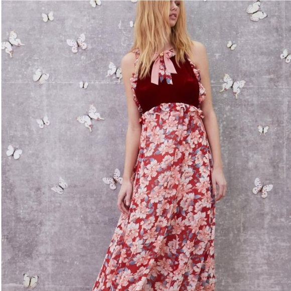 4d9167f49de For love and lemon red blossom floral Maxi dress
